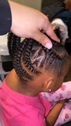 9 stitch feedin braids up into a ponytail for the pretty princess littlegirlhairstyles feedins dallasbraids braidedhairstyles braidedponytail feedins ponytailblackhairstyles kidbraids kidhairstyles braidedhair Little Black Girls Braids, Black Little Girl Hairstyles, Black Kids Braids Hairstyles, Little Girl Braid Styles, Braided Ponytail Hairstyles, Baby Girl Hairstyles, Natural Hairstyles For Kids, Braids For Black Hair, Girl Hair Braids
