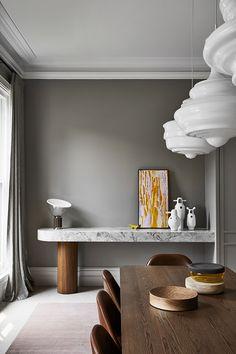 Sanders & King | ARMADALE Australian Interior Design, Interior Design Awards, Gray Interior, Interior Design Studio, Old Fireplace, Decor Logo, Dining Nook, Dining Table, Design Blog