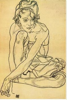 Egon Schiele (Austrian, 1890-1918) - Woman Crouching 1918