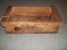 """Vtg 1953 Steel Taper Nails D B Gurney Whitman MASS Wood Box    eBay  11"""" x 21-1/4"""", 6-3/4"""" tall."""
