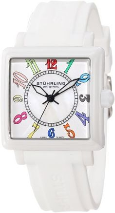 Stuhrling Original Women's 149L4R.12EP3 Vogue Lady Ozzie Lumina Sport Swiss Quartz Mother of Pearl Dial White Ceramic Case Rubber Strap Watch Stuhrling Original. Save 82 Off!. $159.00. Square shaped white ceramic case with step design bezel and knurl edge crown. Protective krysterna crystal on front and stainless steel screw down case back. 20mm white high grade silicon rubber strap with stainless steel tang buckle. Water-resistant to 50 M (165 feet). White hydrualically stamped outer dial.....