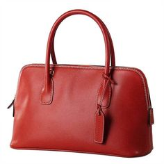 Dome Shaped Italian Leather Handbags from Pierotucci (€299) via Polyvore featuring bags, handbags, leather purse, red leather handbag, red purse, real leather bags and red bag