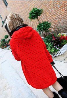 Cute Dot Pattern Long Hooded Thicken Sweater