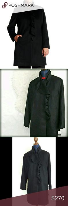 """NWT 2X DKNY Wool Walker Dress Coat Winter Jacket DKNY Ruffle Wool-Blend Walker Coat Size : 2x MSRP: $360.00 Color: Black * Single-breasted snap closure * Lined * Long sleeves * Double collar with cascading front ruffle * Wool Blend: 60% Wool, 20% Polyester,10% Rayon,5% Nylon Brand size chart says 2x is for 20-22W, bust 47-50"""", waist 44-46"""", lower hip 51-53"""". Please check coat measurements below. 2X Approx flat measurements : Length: 39 inches underarm to underarm: 27"""" DKNY Jackets & Coats"""