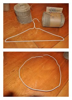 Burlap Wreath made with wire coat hanger.