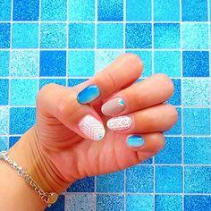 ★★☆. self nail ...🐚🚿 ありがたいことにネイルしてって いっぱい言ってもらえるから 久々にチップ作製しよかな😏💓 . #selfnail#nail#nails#gelnails #nailart#art#Blue#macrame #ネイル#ジェルネイル#セルフネイル #手描きアート#アート#マクラメ #グラデーション#タイル#サマーネイル