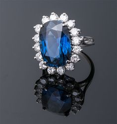 Cushion Cut Sapphire and Diamond Ring  Platinum (23 x 19mm)  S=14.57cts + D=2.00cts app  $100,000