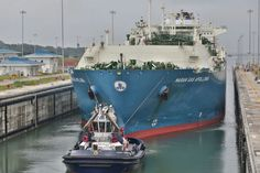 The LNG carrier Maran Gas Apollonia in the Agua Clara locks on the Atlantic side of the Panama Canal, Monday, July 27, 2016. Photo: Panama Canal Authority (ACP)