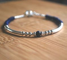 Cobalt Lapis Lazuli Sterling Silver Bracelet Everyday bracelet dainty and delicate Great for stacking Lapis Lazuli stone bracelet healing