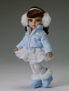 "$89.99 - Patsy Blustery Day - Outfit only  Fits 10"" bend knee child body  Light blue jacket with white quilted stitching  White dress with ruffled skirt  White tights  Light blue headband with white earmuffs  Light blue faux leather boots with white faux fur trim  LE 300"