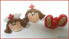 New Polymer Clay Post Earrings Nurse and Hearts Set. $10.00, via Etsy.