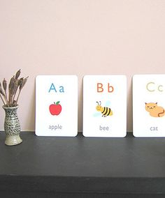 free printable flash cards - has a whole range including alphabet, numbers, emotions, colours.