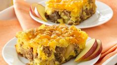 Apple pie filling, fresh apples and breakfast sausage links make this yummy do-ahead egg bake extra yummy!