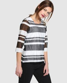 Camiseta bicolor de mujer Antea con manga francesa