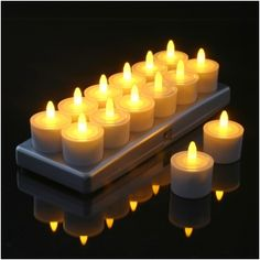 Set of 12 Restaurant Quality Rechargeable Tea Lights; Charging Base with Metal Contacts, Flickering Amber LEDs WITHOUT Glass Holders: String Lights and Party Lights Flameless Candles, Led Candles, Party Lights, Tea Lights, Led Lighting Solutions, Novelty Lighting, Glass Holders, Candle Holders, Tea Light Holder