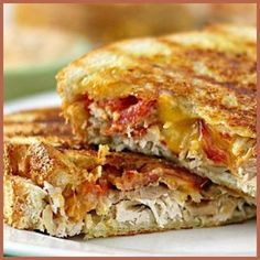 Chicken & Bacon Panini w/ Spicy Chipotle Mayo.& other panini sandwiches. I Love Food, Good Food, Yummy Food, Great Recipes, Favorite Recipes, Panini Recipes, Wrap Sandwiches, Panini Sandwiches, Soup And Sandwich