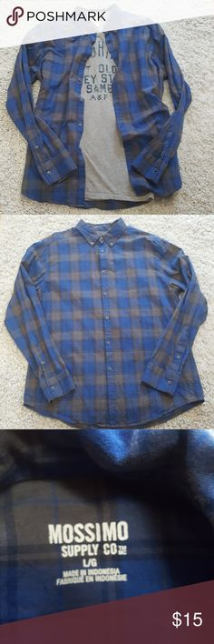 Mossimo Blue & Gray Plaid Shirt Cotton button up in good used condition. Open to offers. Mossimo Supply Co Shirts Casual Button Down Shirts