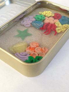 Miniature Clay Coral Reef Tin with Starfish by TinyTropicals Clownfish, Altoids Tins, Clear Resin, Ocean Art, Corals, Ponds, Resin Crafts, Starfish, Aquarium