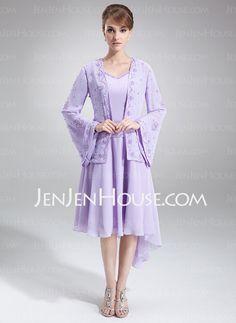 Mother of the Bride Dresses - $99.99 - A-Line/Princess V-neck Asymmetrical Chiffon Mother of the Bride Dress With Beading (008005645) http://jenjenhouse.com/A-Line-Princess-V-Neck-Asymmetrical-Chiffon-Mother-Of-The-Bride-Dress-With-Beading-008005645-g5645