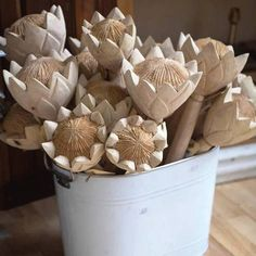 Hancrafted Wooden Proteas – Gray Fox