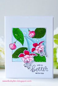 In this post I demonstrate a card made with a simple masking technique with Pretty Pink Posh Flourishing Fuchsias stamps and dies set Flower Stamp, Flower Cards, Card Making Tutorials, Making Ideas, Handmade Birthday Cards, Handmade Cards, Copic Sketch Markers, Pretty Pink Posh, Card Maker