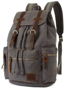 * Backpack Type: Canvas & Genuine Leather Backpack * Carrying System:Physiological Curve Back * Closure Type: Zipper & Hasp * Capacity: 25-35 Litre * Gender: Unisex * Pattern Type: Solid * Zipper secr