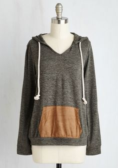 In Tents and Purposes Top. A weekend spent in the woods while clad in this moss green hoodie is the chill getaway youve had on the brain. #grey #modcloth