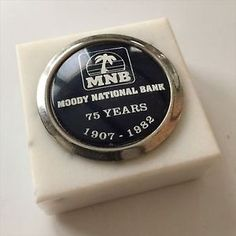 Vintage Moody National Bank 75 Years Italian Marble Paperweight | eBay