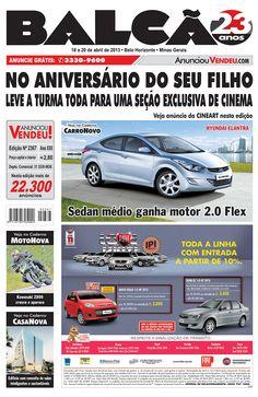 Capa Jornal Balcão em circulação dos dias 18 a 20 de Abril. #casanova #motonova #carronovo #hyundai #palio #cineart #bh #carro
