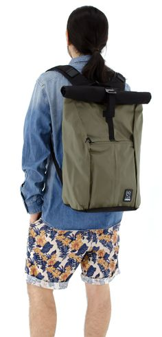 Chrome Industries - Yalta Rolltop (Jungle) ($120) === Water-resistant rolltop backpack with side-access laptop compartment and tough truck-tarpaulin exterior. Guaranteed for life.