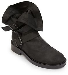 Ann Demeulemeester Fold-Over Leather Buckle Boots on shopstyle.com