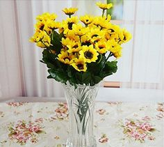 15-stem Sunflowers, Artificial Flower 10 Pieces *** To view further for this item, visit the image link.