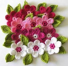 Crochet Flowers Design Free Crochet Patterns to Print Crochet Motifs, Knit Or Crochet, Crochet Crafts, Easy Crochet, Crochet Stitches, Crochet Projects, Single Crochet, Crochet Kits, Cotton Crochet