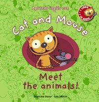 """""""Cat and Mouse: Meet the animals"""" de Stéphane Husar.  Un gato y un ratón. ¿Se llevarán mal? ¡Claro que no! Los dos animales se entienden de maravilla y son igual de curiosos…   Cat and Mouse hablan en inglés, y mientras te entretienes con sus historias y disfrutas de las divertidas ilustraciones, tú aprenderás inglés también. Además, con el CD podrás escuchar los diálogos y el vocabulario. ¡Anímate a repetir las frases!   Aprenderás cómo se llaman los animales en inglés"""