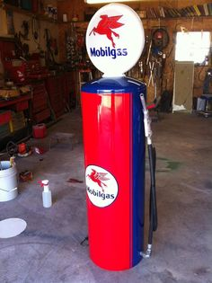 old hot water heater turn into a vintage looking gas pump