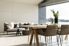The perfect alfresco setting for summer nights by the river. Greg Davies, Summer Nights, Luxury Homes, Architects, Dining Table, River, Projects, Furniture, Design