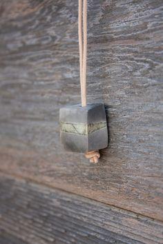 Raku Ceramic Necklace Lightweight Modern Coal by HighYieldStudio, $25.00
