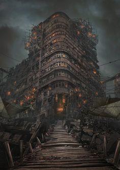 The New Babylon, Andrii Shafetov on ArtStation at https://www.artstation.com/artwork/the-new-babylon