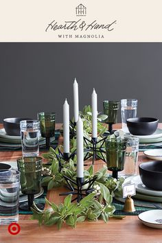A well-set table doesn't have to be a lot of work. Metal chargers layer perfectly onto your existing style. Beautiful linens, centerpieces and personalized place card holders are some of Joanna's favorites, too. Hearth & Hand™ with Magnolia, only at Target.