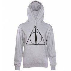 Women's Heather Grey Harry Potter Deathly Hallows Symbol Hoodie ($37) ❤ liked on Polyvore featuring tops, hoodies, harry potter hoodie, sweatshirt hoodies, hooded pullover, hoodie top, heather grey hoodie and hooded sweatshirt