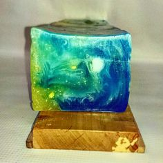 Swirling melt & pour soap scented  with Light Blue fragrance oil