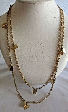 """VINTAGE SARAH COVENTRY 50"""" GOLDTONE BUTTERFLY CHARM NECKLACE/WEAR SINGLE/DOUBLE"""