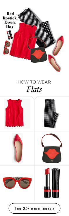 """Red. Every day!"" by juliehooper on Polyvore featuring Lands' End, J.Crew, Rimmel, Dolce&Gabbana, red and redandblack"