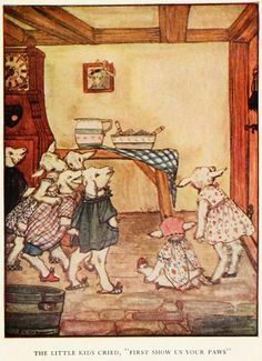 """Rie Cramer - Grimm's fairy tales (c1922) - The little kids cried, """"First show us your paws."""""""