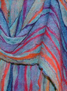 Nuno felt shawl with [silk?] streaks of a contrasting hue by Nancy Darian