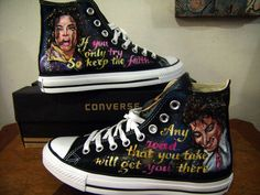 Michael Jackson Hand Painted Shoes mens Sneakers,High-top Painted Canvas Shoes