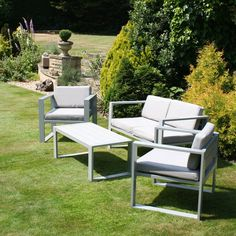 This comfortable garden lounge set consists of one double sofa, two armchairs and one rectangular table. The set can also double as an outdoor dining set and it will look great on your patio, deck or conservatory as well. Cosy 10cm-thick cushions are provided to go with the sofa and armchairs. The lounge set can be safely kept outdoors all year round as the materials used on its production are weatherproof. Click to shop for yours.