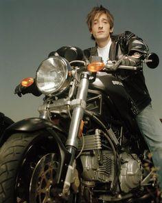 "legendbiker: "" Adrien Brody with Ducati Monster "" Sidecar, Adrien Brody Movies, Male Fairy, Human Poses, Ducati Monster, Godly Man, Bike Art, Athletic Men, Actor Model"