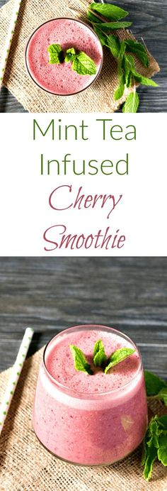 A healthy, cooling cherry smoothie infused with mint tea. (Smoothie Recipes With Spinach Blenders) Smoothie Fruit, Cherry Smoothie, Yummy Smoothies, Breakfast Smoothies, Smoothie Drinks, Smoothie Bowl, Yummy Drinks, Healthy Drinks, Smoothie Recipes