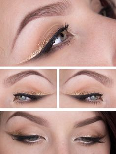 smokey double winged liner: black + metallic gold | eye makeup @stjima
